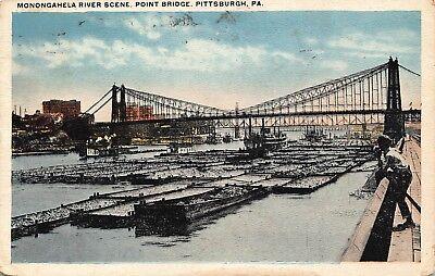 VTG 1917 POSTCARD MONONGAHELA RIVER POINT BRIDGE BOATS PITTSBURGH PA  ~ A60
