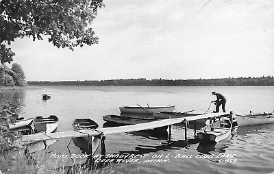 MN 1940's REAL PHOTO Boat Dock Shady Rest Deer River, Minnesota - Itasca County