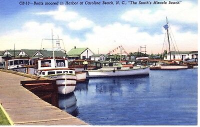 CAROLINA BEACH NC Boats Moored in Harbor Yacht Basin Fishing North Carolina E007