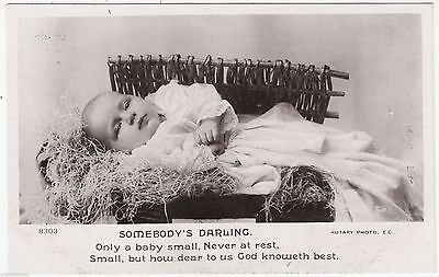 SOMEBODY'S DARLING Only A Baby Small - Rotary #8303 - c1910s Real Photo postcard