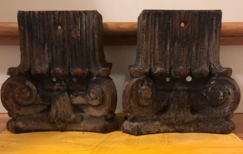 1800's Matching Architectural Salvage Cast Iron Corbels