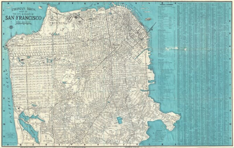 1952 Thomas Brothers Map or Plan of San Francisco, California