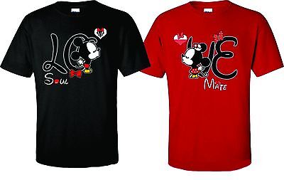 Disney T-shirts (Mickey and Minnie Disney Soul Mate couple matching funny cute T-Shirts love new)