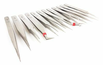 12 Pack Non-Magnetic Stainless Steel Tweezers Jewelry straight Curved Bent