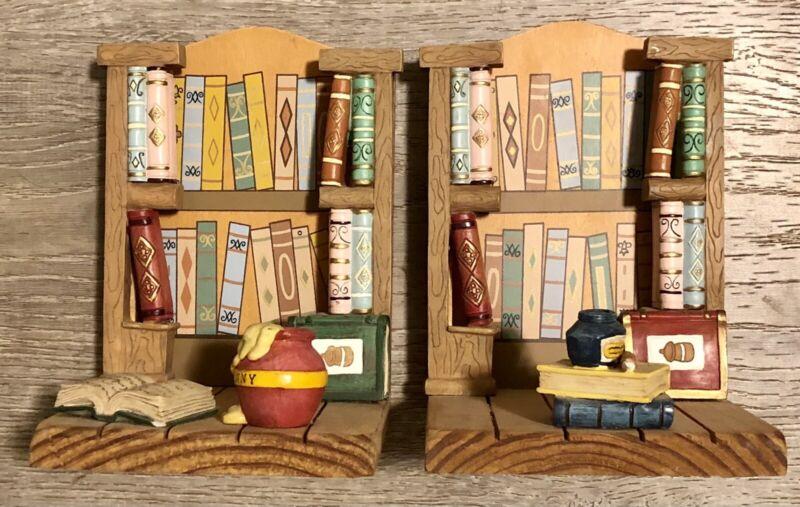 Vintage Wooden Disney Winnie The Pooh Book Ends Honey Pot Library Bookshelf