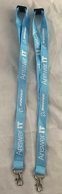 New Lot Of 2 Boeing Answer It Light Blue Lanyard Id Badge Holders