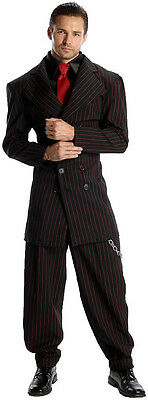 Men's Black & Red Zoot Suit  Gangster Costume 1920's Pin Stripe Suit Size Large - 20s Mens Costumes