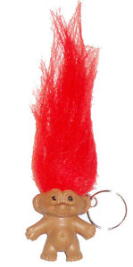 RED LUCKY TROLL DOLL KEYRING/ PENCIL TOPPER NEW