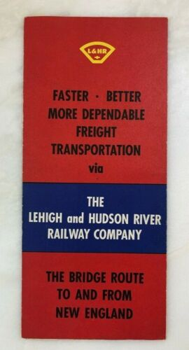 c 1960 LEHIGH & HUDSON RIVER RAILWAY Railroad MAP Bridge Route Brochure VINTAGE