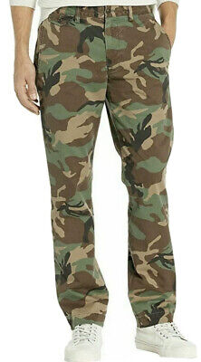 POLO RALPH LAUREN Mens BEDFORD Stretch Straight Fit Pants $98 CAMO GREEN