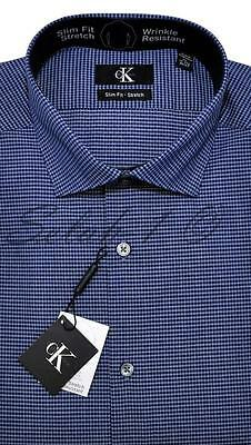 New Calvin Klein mens 17-17.5 x 34/35 - DARK BLUE CHECK Slim Fit Dress SHIRT