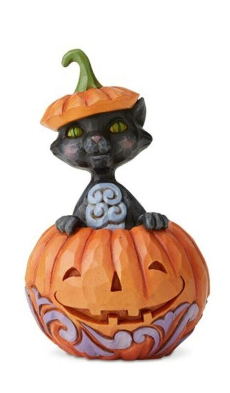 Jim Shore Mini Cat Popping Out of Pumpkin Halloween #6004330 BRAND NEW Free Ship
