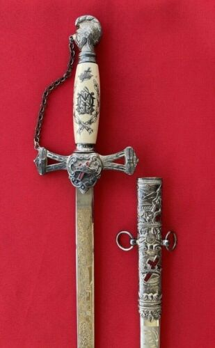 Beautiful Masonic Freemason Fraternal Knights Templar Sword Saber Singed Gilded