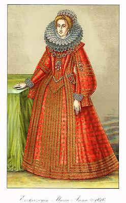 "Chromolithograph MIDDLE AGES - ""MARIA ANNA, 1616 "" by Hefner-Alteneck in 1840"