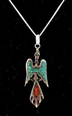 Vintage Native American Sterling Silver Peyote Bird Necklace