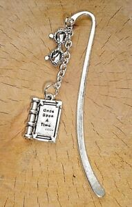 ONCE UPON A TIME BOOK READING GLASSES CHARM BOOKMARK SILVER IN GIFT BAG