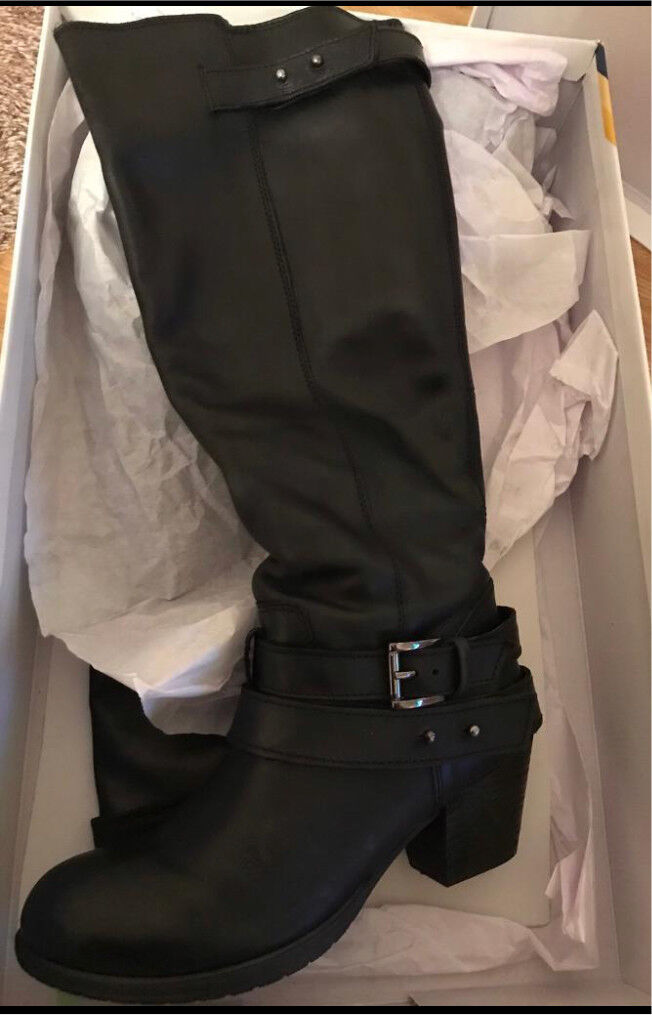 Black leather boots office £35