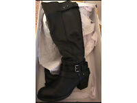 Black leather boots office