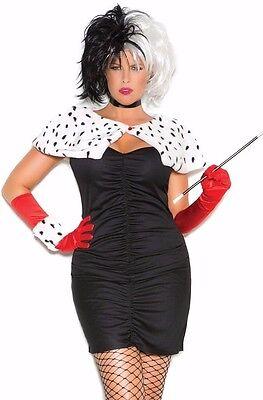 Cruella De Vil Sexy Costume 1X/2X Women Plus Cosplay Halloween Dress Disney - Dog Devil Costume