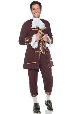 Colonial Gentleman Historical Burgundy & Gold Adult Men's Suit Costume STD-XXL (Burgundy Costume)