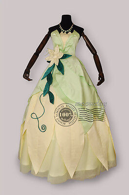 Tiana Adult Costume The Princess and The Frog Cosplay Dress Deluxe Ball Gown - Princess And The Frog Costume Adults