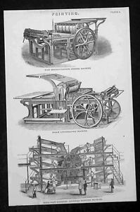 1874-Blackie-Son-Antique-Print-of-3-Different-19th-Century-Printing-Machines