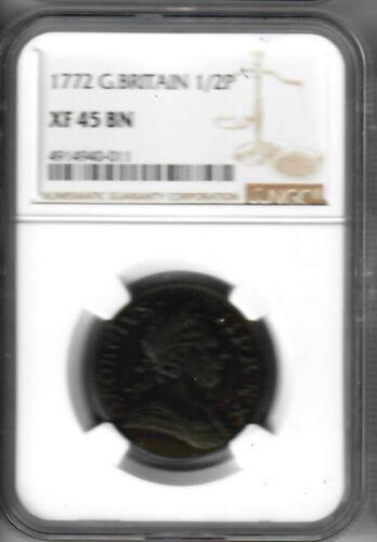 1772 Great Britain Halfpenny NGC XF45 BN