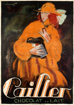 Swiss Milk Chocolate Cailler 1921 Vintage Advertising Giclee Canvas Print 20x28