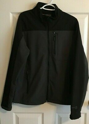 FREE COUNTRY Mens MEDIUM Soft Shell Jacket BLACK Wind n Waterproof Coat RN 82608