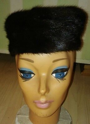 Mink Pillbox Hat - Vintage Black Brown Fur Marshall Field 1950's Women's Fashion