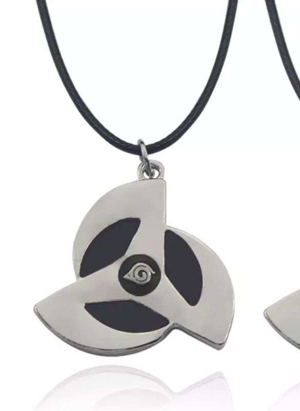 "Naruto Sharingan Itachi Kakashi Necklace Pendant Anime Black 1"" US Seller"