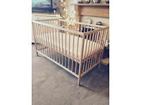 EXCELLENT condition john Lewis cot with unused Mamas and papas mattress £35