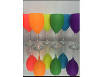 Set of 6 neon glitter glasses