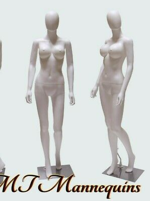 Female Sexy Mannequin Metal Stand Full Body Plastic White Busty Manikin-sw2