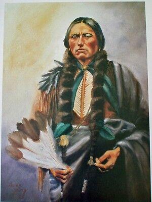 "Native American Collectible Art Print, Comanche Chief, Quanah Parker, 25""X18"", used for sale  Sun City Center"