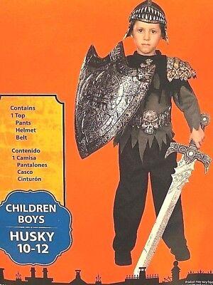 KNIGHT WARRIOR HALLOWEEN COSTUME TOP PANTS HELMET BELT SWORD BOYS HUSKY 10-12