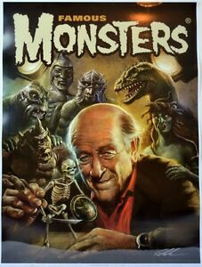 Famous Monsters Filmland POSTER - RAY HARRYHAUSEN Cover art #271 HAND SIGNED