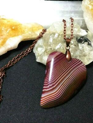 Necklace Heart Shape Pendant Banded Agate  Natural Stone Copper Boho Chic Gemstone Heart Shape Pendant
