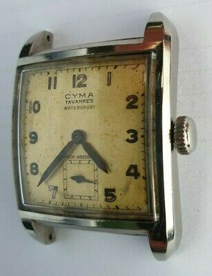 CYMA TAVANNES WATER SPORT VINTAGE SQUARE ACCIAIO NEW GLASS - NEW STRAP  for sale  Shipping to Nigeria