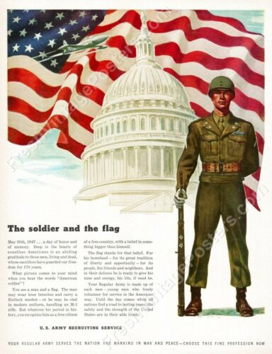 1947 US Army soldier M1 rifle American flag jet recruitment new poster 18x24