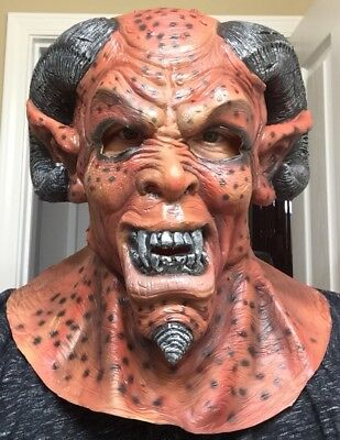 Scary Demon Satan Mask Halloween Costume Cosplay Adult Latex Ram Horns (Scary Demons)