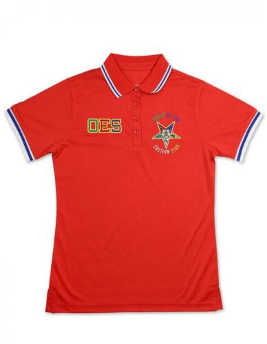 Order of the Eastern Star OES Polo Shirt- Red-Size XL-New!