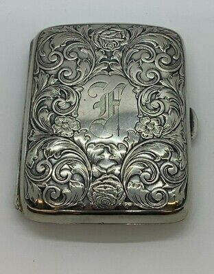 "Estate Web Sterling Silver Cigarette Case -- Monogramed ""F"" -- Weight 58.7 Grams"