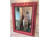 Shabby chic ornate pink and gold mirror