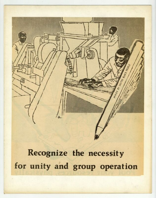 United Black People 1970 Civil Rights Poster African American Racial Equality
