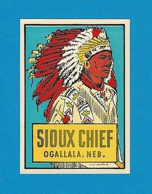 "VINTAGE ORIGINAL 1951 SOUVENIR ""SIOUX CHIEF"" OGALLALA NEBRASKA WATER DECAL ART"