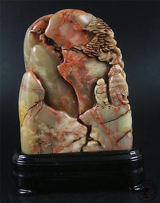 Large Old Chinese Soapstone Carved Mountain Statue Chop Seal w/ Stand
