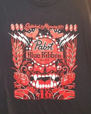 Used, 2XL PABST BLUE RIBBON BEER BLACK TIKI PBR TEE T-SHIRT 100% COTTON XXL EST. 1844 for sale  Concordia