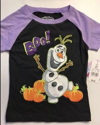 NWT Disney Frozen Toddler Girls' Olaf Halloween T-Shirt Black Purple 2T BOO!