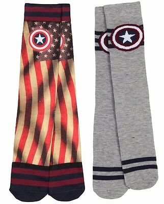 n America Superhero Vintage American Flag Socks Large 6 -12 (Captain 6 Pack)
